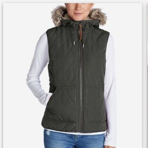 NEW Eddie Bauer Snow Furry hooded vest